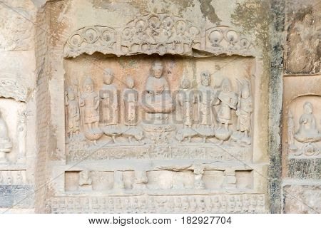 Henan, China - Oct 03 2015: Budda Statues At Gongxian Grottoes. A Famous Historic Site In Gongyi, He