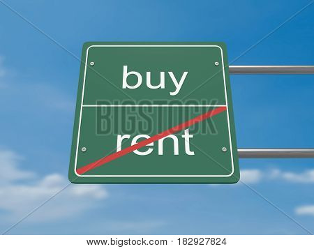 Business Concept Road Sign: Rent And Buy 3d illustration