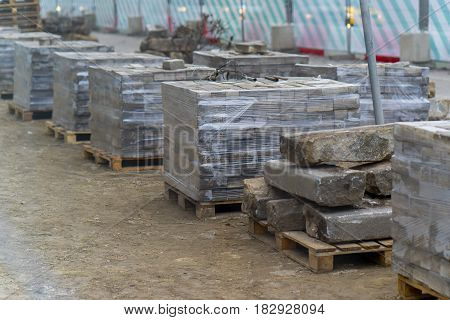 Packed old bricks at a construction site