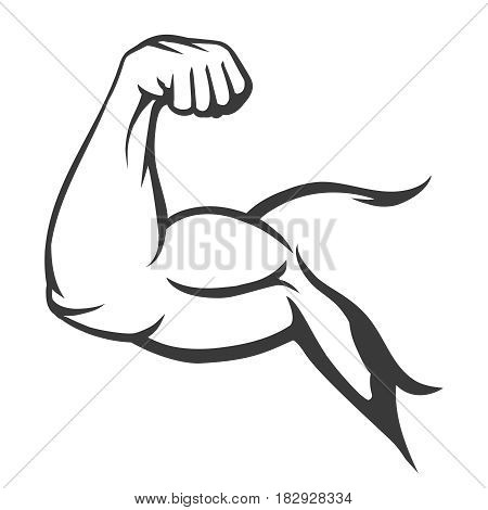 Bodybuilder muscle flex arm vector illustration. Strong macho biceps gym flexing hand vector icon isolated on white background