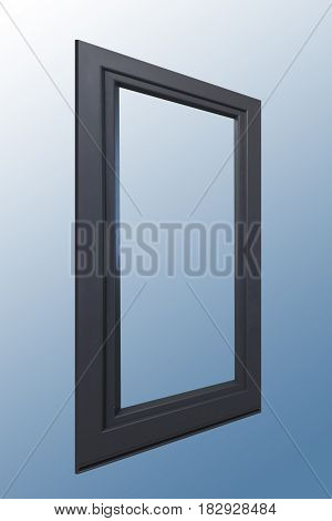 Wooden panel one door window in combination with aluminum view on outside