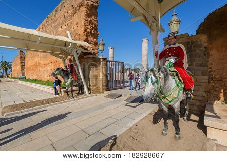 Rabat, Morocco - March 05, 2017: Hassan Tower Place In Rabat