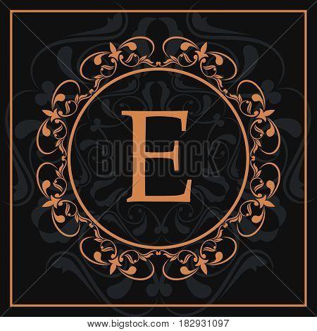 florishes gold letter E calligraphic heraldic dark background vector illustration