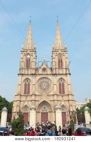 Gunagdong, China - Nov 29 2015: Sacred Heart Cathedral. A Famous Historic Site In Guangzhou, Guangdo