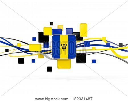 Flag Of Barbados, Mosaic Background With Lines