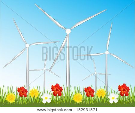 Year glade with flower and wind generators for reception of the energy
