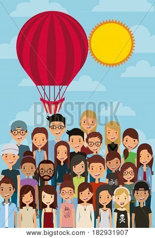 cartoon young people smiling and behind a air balloon over sunny day background. colorful design. vector illustration