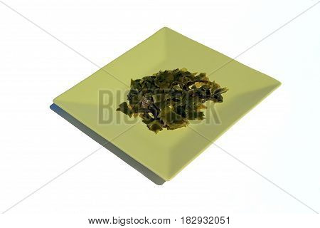 Plate of seaweed noris, on white background