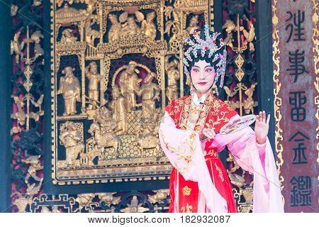 Gunagdong, China - Nov 28 2015: Chinese Opera At Foshan Ancestral Temple(zumiao Temple). A Famous Hi