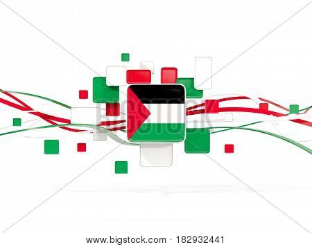 Flag Of Palestinian Territory, Mosaic Background With Lines