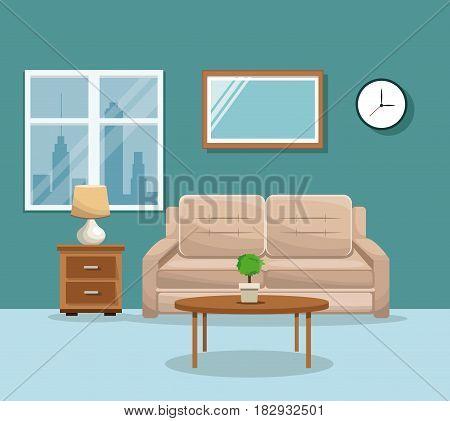 living room sofa table potplant clock lamp mirrow window vector illustration