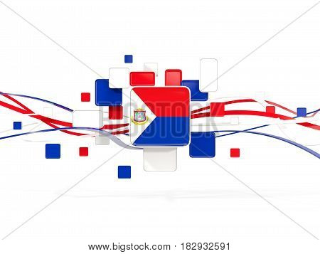 Flag Of Sint Maarten, Mosaic Background With Lines