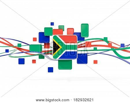 Flag Of South Africa, Mosaic Background With Lines