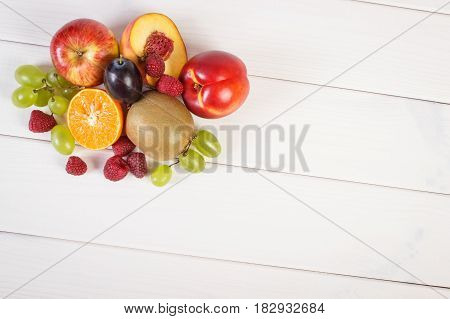 Fresh Ripe Fruits On White Boards, Healthy Nutrition, Copy Space For Text