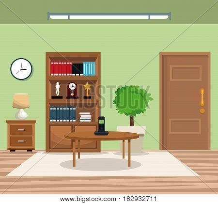 room pot tree bookcase clock lamp table telephone door carpet vector illustration