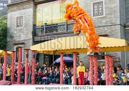 Gunagdong, China - Nov 28 2015: Lion Dance At Foshan Ancestral Temple(zumiao Temple). A Famous Histo