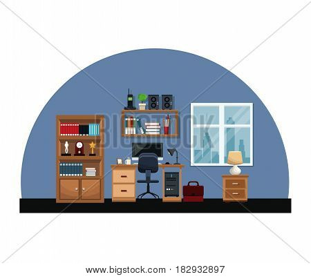 office interior room desk chair window table briefcase bookshelf clock lamp vector illustration