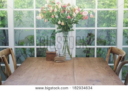 Dining Set Of Classical Wooden Furniture stock photo
