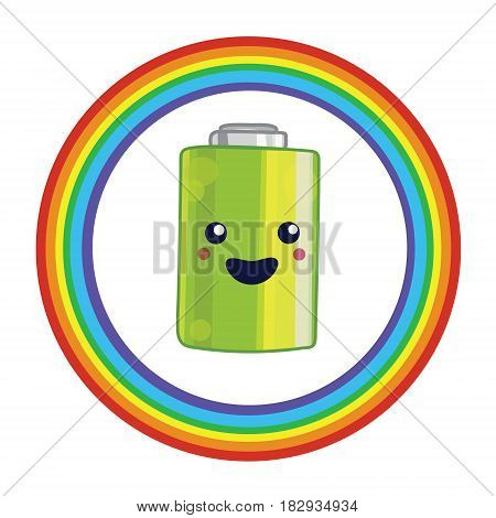 Illustration for battery recycling with kawaii battery and rainbow.