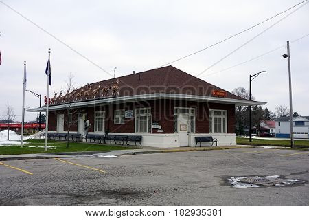 KALKASKA, MICHIGAN / UNITED STATES - NOVEMBER 27, 2016: The Kalkaska Historical Museum occupies the historic Train Depot building in downtown Kalkaska.