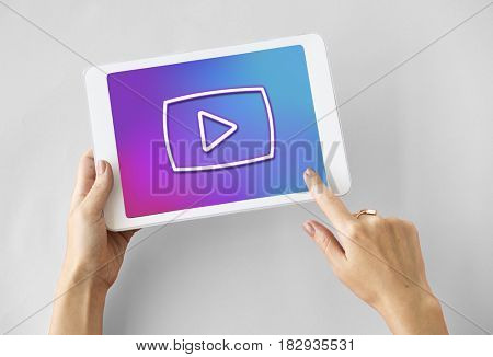 Multimedia Entertainment Play Button Interface