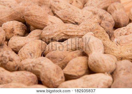 Peanut closeup on a white background. Groundnut.