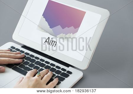 Computer Laptop Screen Aim Word Graphic