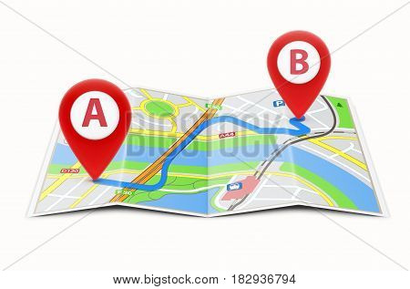 Vector illustration of global navigation concept with city map and two glossy location pointer icons on it