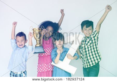 Group of Kids Happiness Winner Trophy
