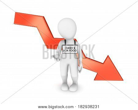 3d small people. Recession concept. 3d illustration.