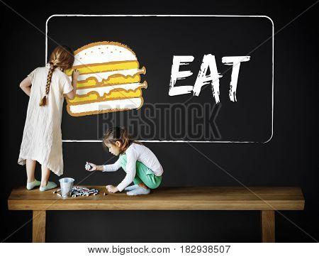 Burger Fast Food Icon Graphic