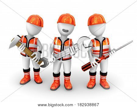 3d builders with tools. 3d rendered illustration.