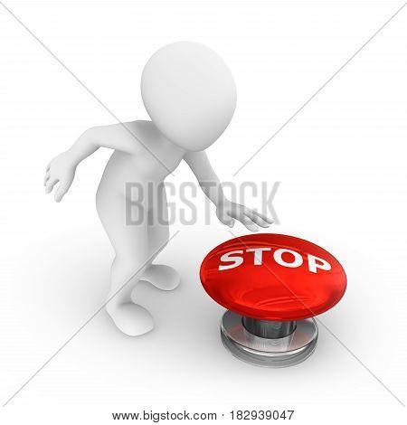 3d man presses the big stop button.