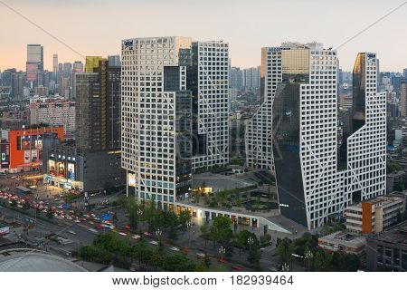 Chengdu Raffles City Building Aerial View