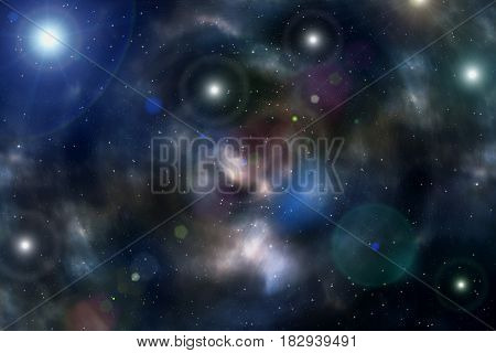Colorful abstract bright mottled background of deep space with nebulae and stars