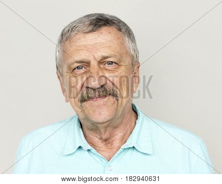 Senior Adult Man Face Smile Expression Studio Portrait