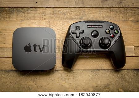 December 11 2015. Toronto Ontario Canada. The new Apple TV 4th generation with the Nimbus SteelSeries bluetooth game controller for Apple TV and iOS devices.