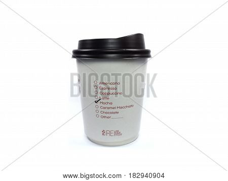 akeaway coffee cup,white paper cups with closed black caps,isolated background,Selected the