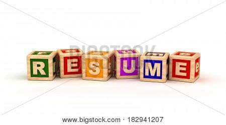 Resume Text Cube (Isolated on white background) 3D Rendering