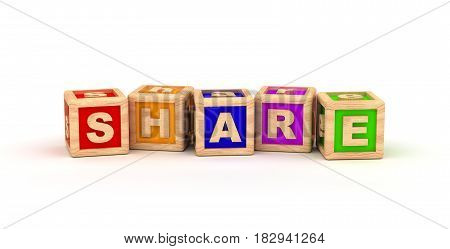 Share Text Cube (Isolated on white background) 3D Rendering