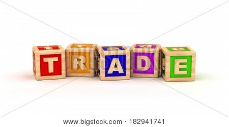 Trade Text Cube (Isolated on white background) 3D Rendering