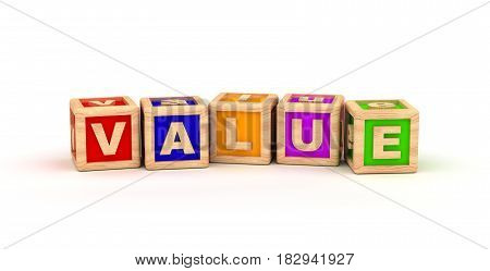 Value Text Cube (Isolated on white background)  3D Rendering