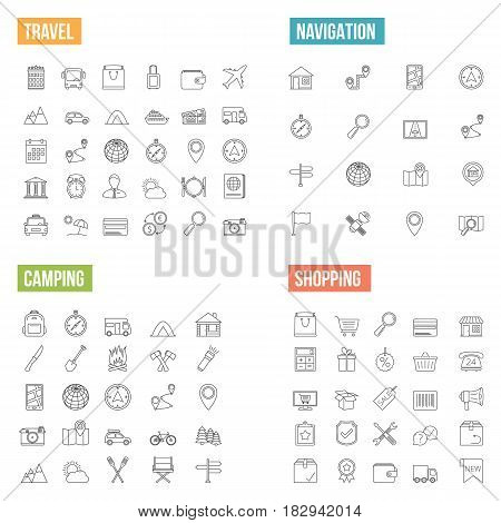 Travel, navigation, camping and shopping line icons, vector eps10 illustration
