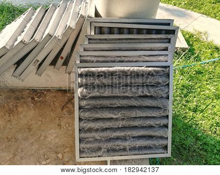 Picture of dirty air filter on the ground