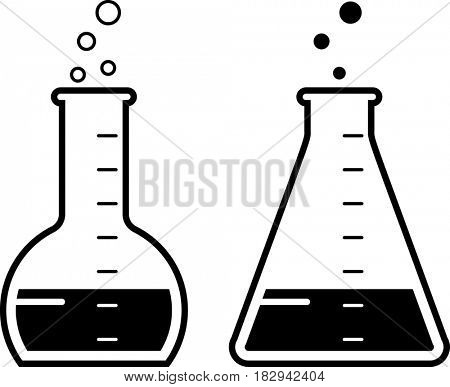 Laboratory Glass Beaker Icon  Raster Illustration