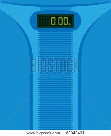 Bathroom Scale with Digital Display  Raster Illustration