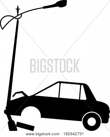 Car Crashed into Street Light Pole  Raster Illustration