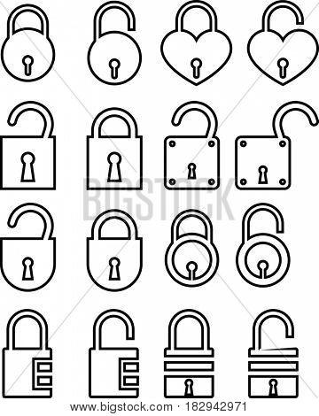 Lock Unlock Icon  Raster Illustration