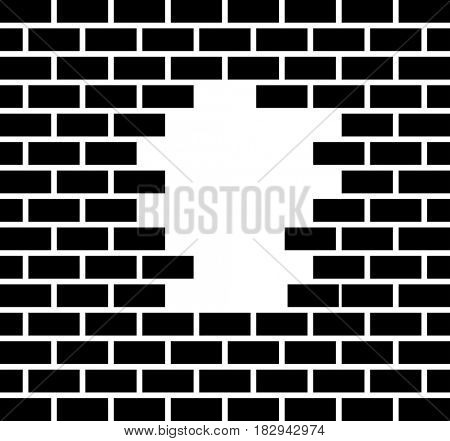 Hole In Brick Wall  Raster Illustration