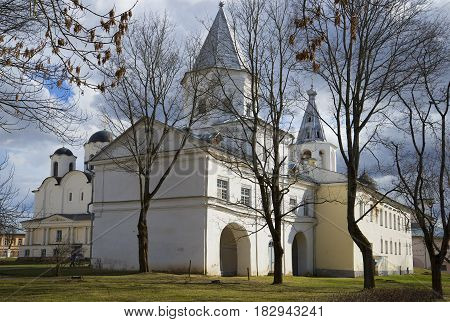 The ancient tower of the Gostiny Dvor. April day. Veliky Novgorod, Russia